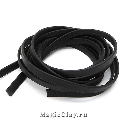 Шнур каучуковый 6х2мм плоский Черный, 90см