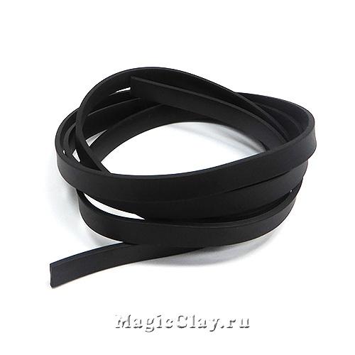 Шнур каучуковый 8х2мм плоский Черный, 1 метр