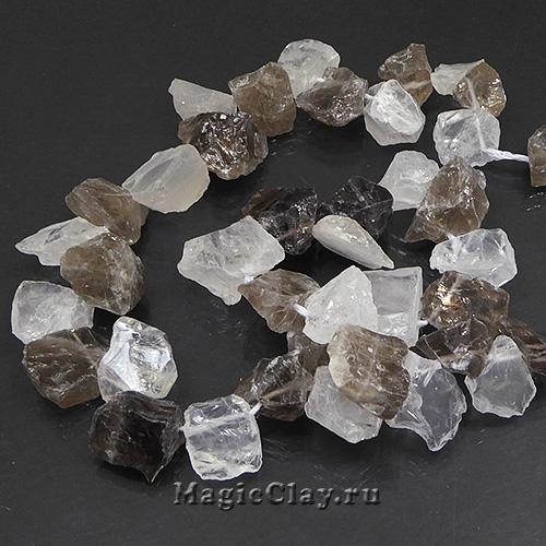 Бусины Кварц Микс, камень 17-8х8-15мм, 1 нить (13шт)