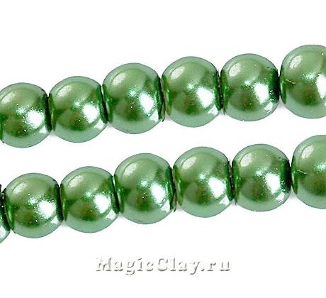 Бусины перламутр Зеленый Хвойный 4мм, 1нить (~105шт)