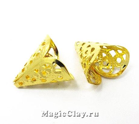 Шапочка для бусины Ажур Горн 16х11мм, цвет золото, 10шт