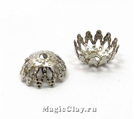 Шапочка для бусины Ажур Кувшинка 9мм, цвет серебро, 1уп(~30шт)