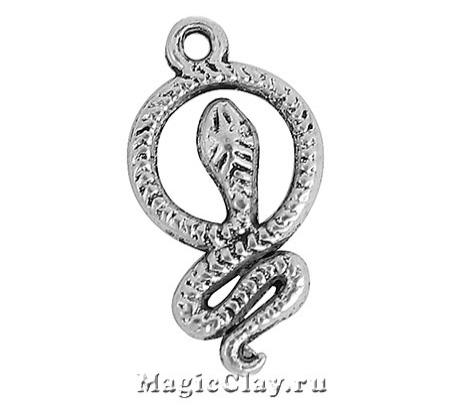 Подвеска Змейка 23х12мм, цвет серебро, 1шт