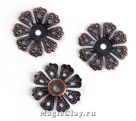 Шапочка для бусины Ажур Цветок 19мм, цвет медь, 10шт