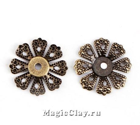 Шапочка для бусины Ажур Цветок 20мм, цвет бронза, 10шт