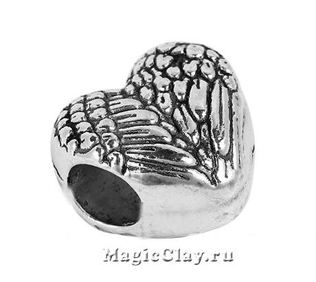 Бусина Сердце 12х11мм, цвет серебро, 1шт