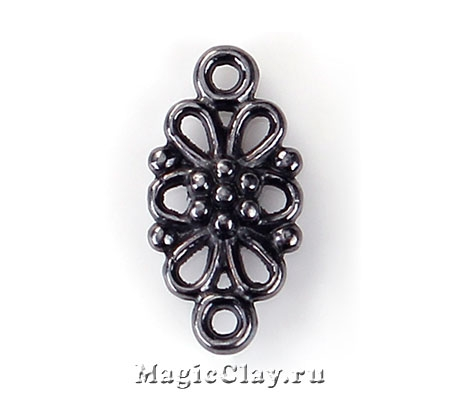 Коннектор Ажурный Цветок 16х8мм, цвет черная сталь, 10шт