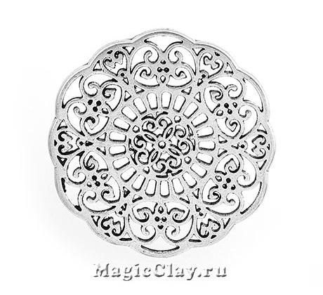 Коннектор Ажур Цветок 31мм, цвет серебро, 1шт
