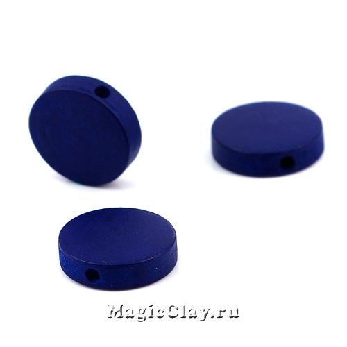 Бусины деревянные Круг, цвет темно-синий 15мм, 10шт