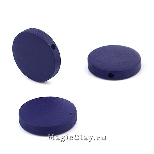 Бусины деревянные Круг, цвет темно-синий 20мм, 6шт
