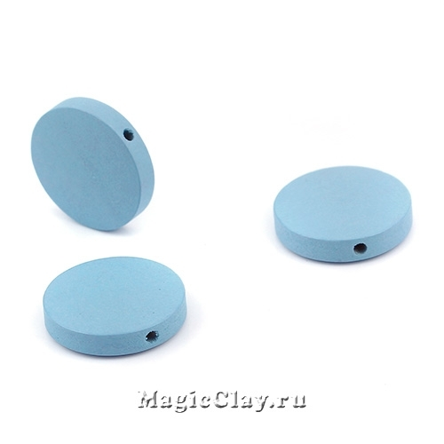 Бусины деревянные Круг, цвет голубой 20мм, 6шт