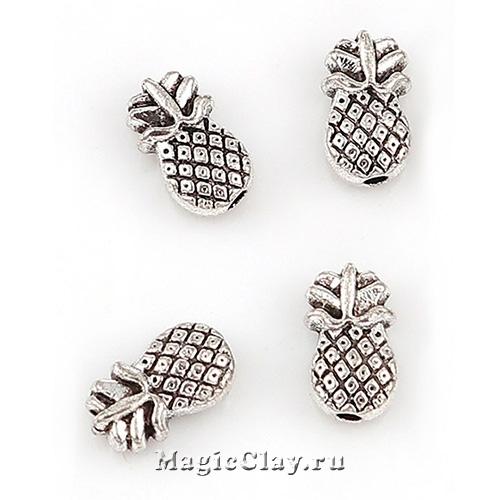 Бусина Ананас 10х6мм, цвет серебро, 6шт