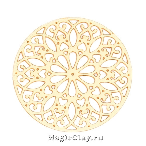 Филигрань Калейдоскоп 25мм, цвет золото, 1шт