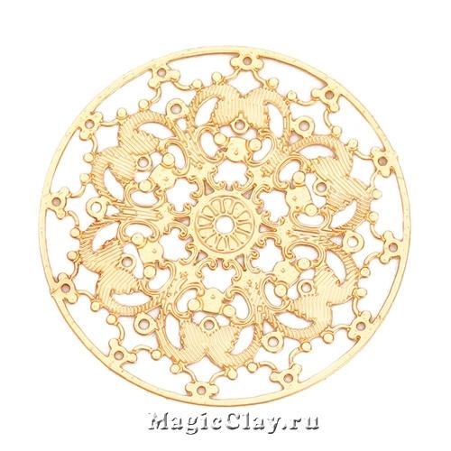 Филигрань Цветочный Узор 25мм, цвет золото, 1шт