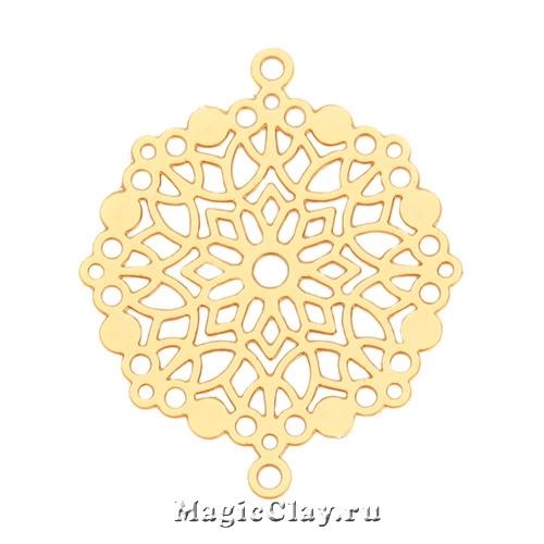Филигрань Снежная Роспись 28х23мм, цвет золото, 1шт