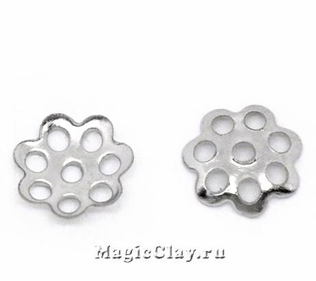 Шапочка для бусины Ажурная 6мм, цвет серебро, 1уп(~90шт)