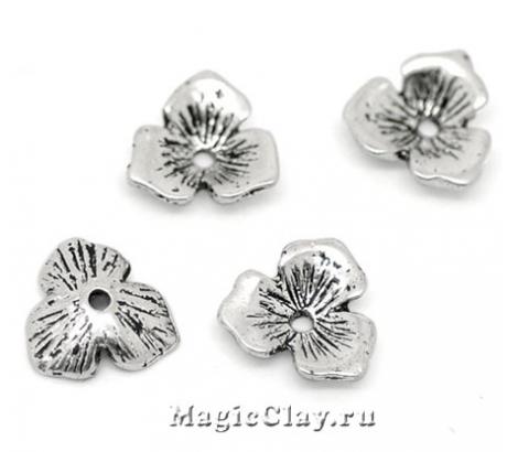 Шапочка для бусины Трехлистник 11х10мм, цвет серебро, 6шт