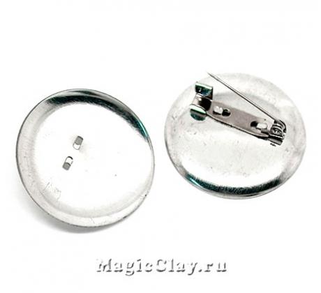 Основа для брошей и значков Круг 36мм, цвет серебро, 5шт