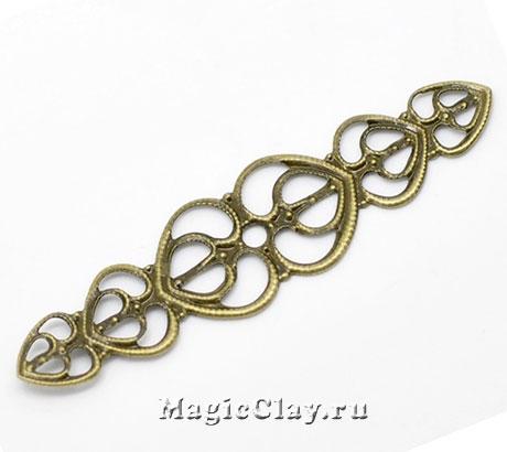 Филигрань Влюбленность 53х14мм, цвет бронза, 10шт