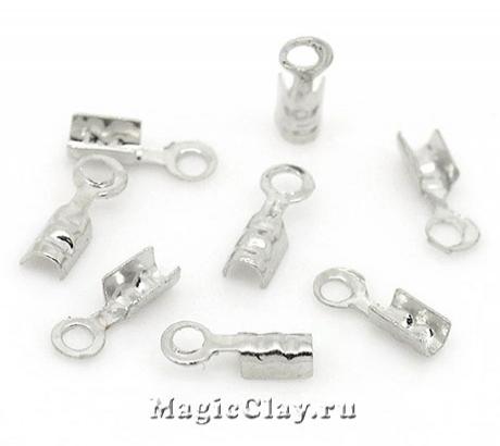 Зажимы 7х2мм, цвет серебро стальное, 1уп (~50шт)