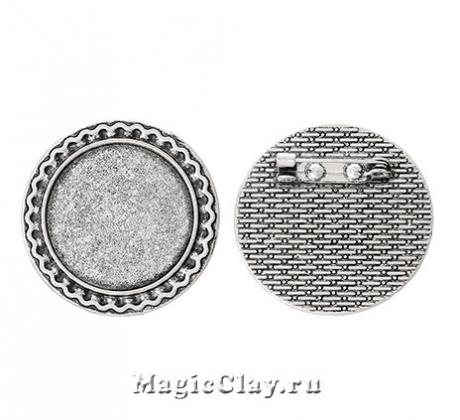 Основа для броши Ажур Кант 34мм, цвет серебро, 1шт