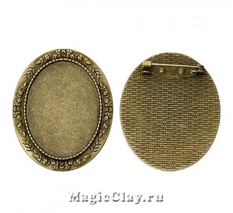 Основа для броши Элегия 51х41мм, цвет бронза, 1шт