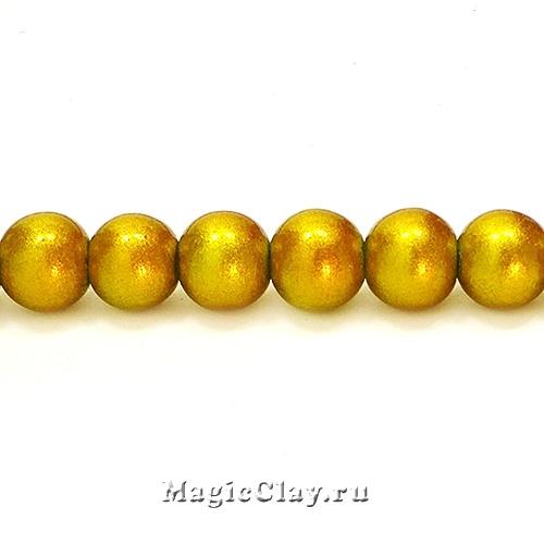 Бусины Лаковый Золотой 10мм, 1нить (~40шт)