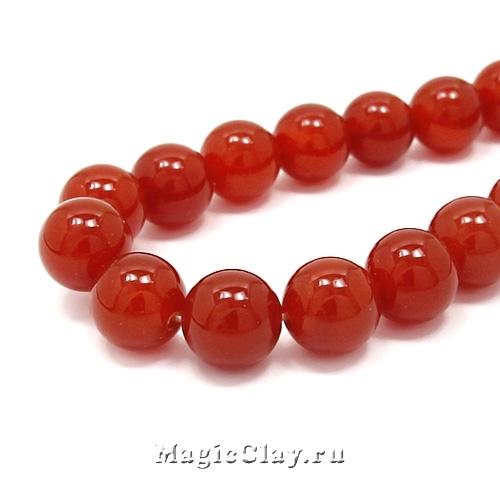 Бусины Агат красный, гладкий 10 мм, 1 нить (19шт)