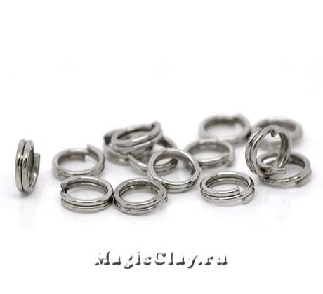 Колечки двойные 6х1мм, сталь, 1уп (~100шт)