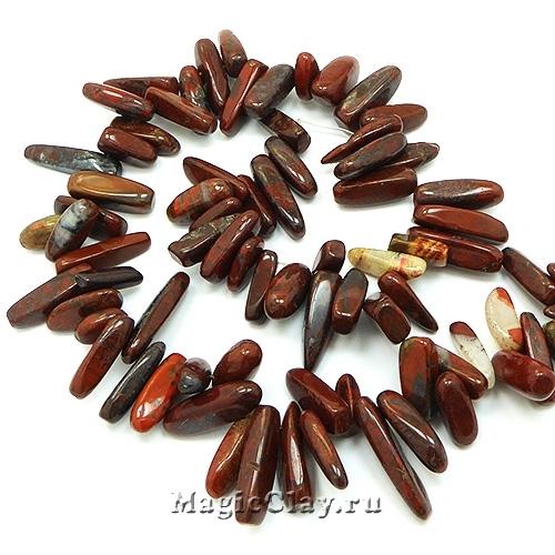 Бусины Яшма брекчиевая, палочки 8~30х5~12мм, 1нить (~75шт)