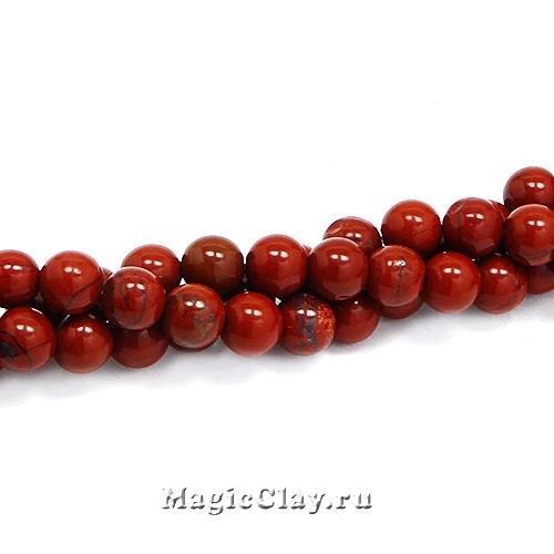 Бусины Яшма красная 6мм, Grade A, 1нить (~60шт)