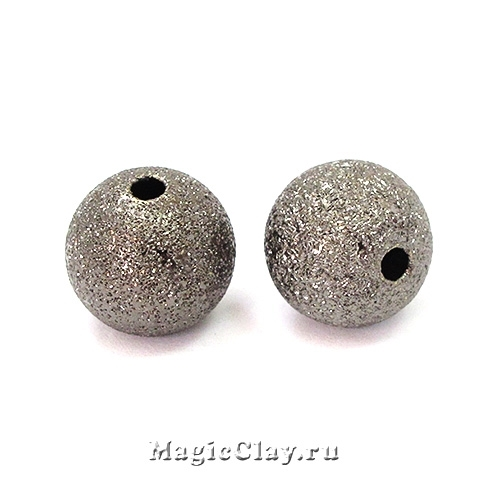 Бусина Звёздная Пыль 10мм, цвет черная сталь, 10шт