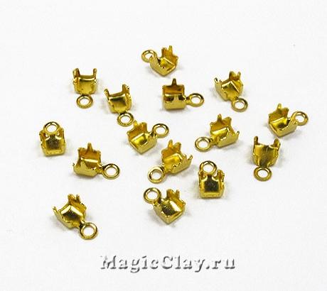 Концевики для цепочек со стразами 3,5мм, цвет золото, 20шт