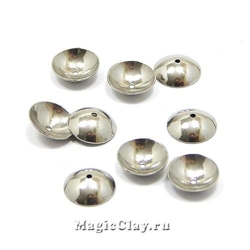 Шапочка для бусины Круглая 8x2мм, сталь, 20шт