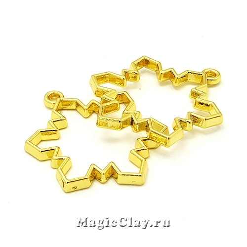 Рамка для кулона Снежинка 31х24мм, цвет золото, 1шт