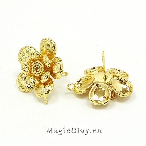 Швензы гвоздики Цветок 18мм, Real Gold, 1пара