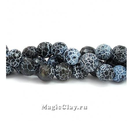 Бусины Агат черный, кракле 8 мм, 1 нить (~46шт)