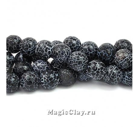 Бусины Агат черный, кракле 10 мм, 1 нить (~36шт)