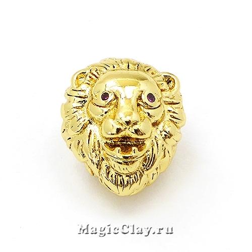 Бусина Лев 13х11мм, Милано, цвет золото, 1шт