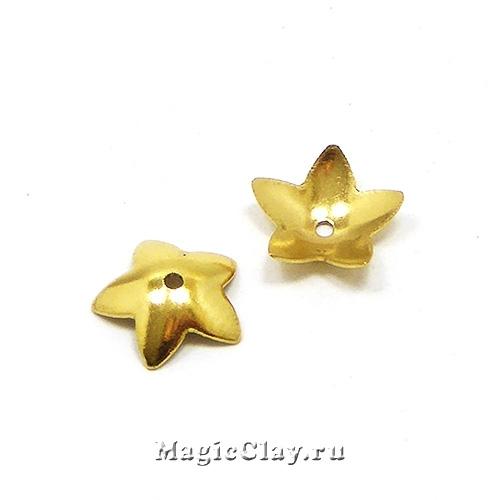 Шапочка для бусины Звездочка 7x2мм, сталь, цвет золото, 6шт