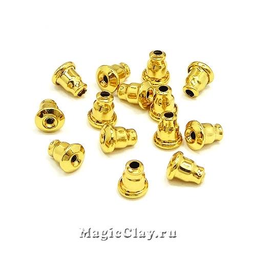 Заглушки для серег 6х5мм, сталь, золото, 20шт
