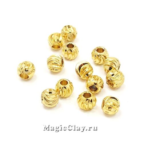 Бусина Шар Рифленый 4х3мм, золото 18K, 20шт
