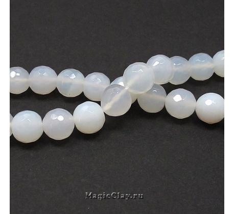 Бусины Агат белый, граненый 10 мм, 1 нить (~37шт)
