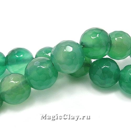 Бусины Агат зеленый граненый 10мм, 1нить (~37шт)