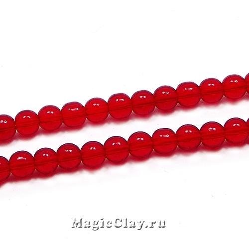 Бусины Прозрачный Красная Смородина 4мм, 1нить (~75шт)