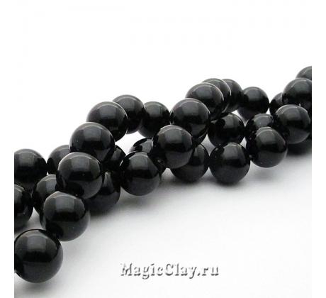 Бусины Агат черный, гладкий 10 мм, 1 нить (~37шт)