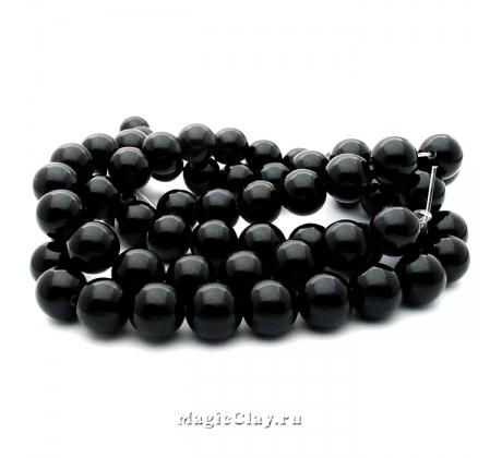 Бусины Агат черный 12мм, 1нить (~32шт)