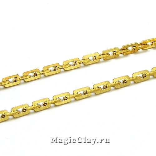 Цепочка Бостон Прямоугольный звенья 3x2мм, сталь, цвет золото, 1м