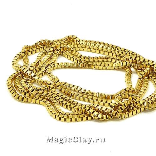 Цепочка Квадратные звенья 2x2мм, сталь золото, 1м