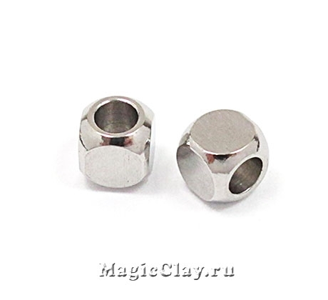 Бусина Кубик 4х4мм, сталь, 10шт